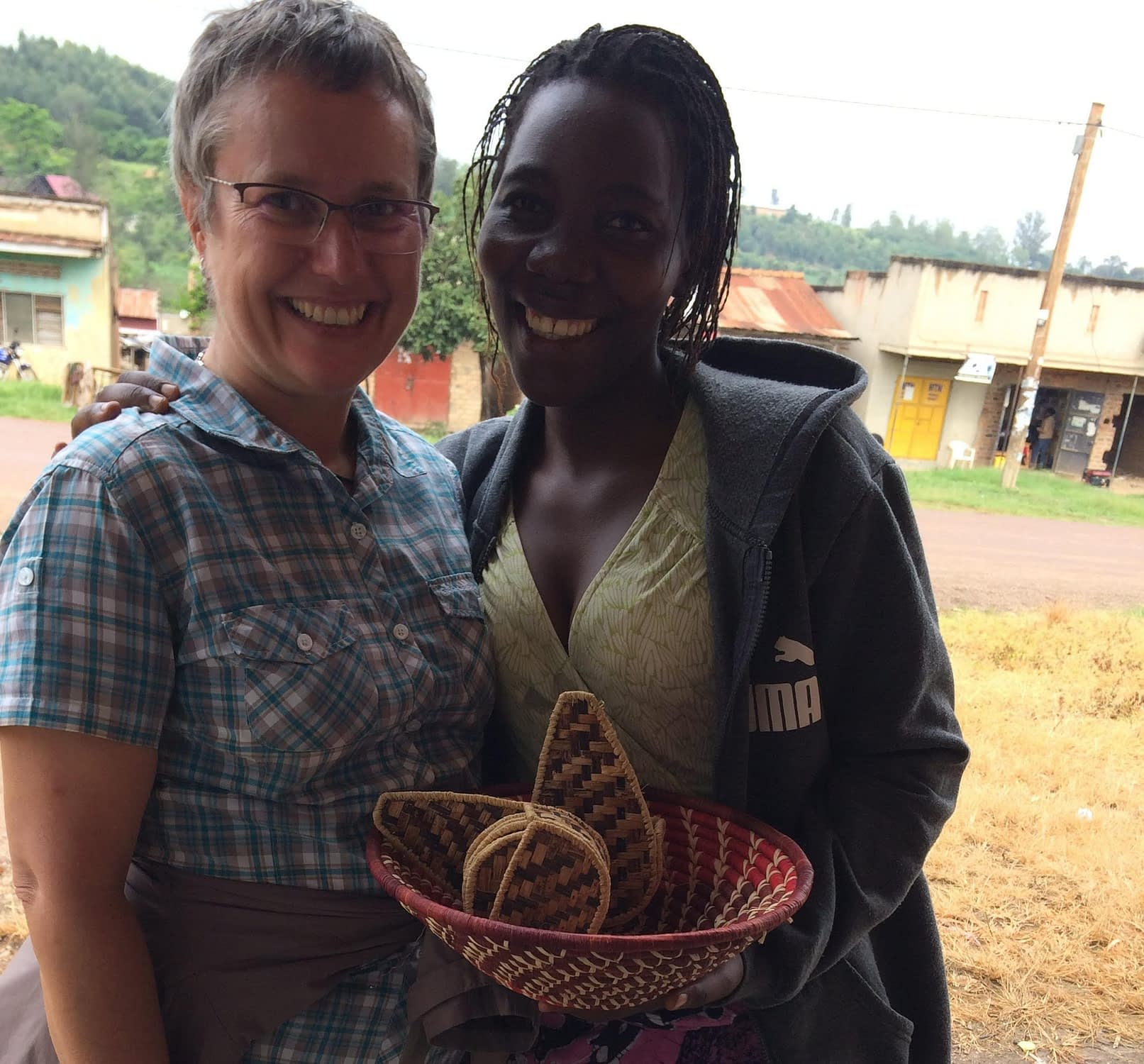 Sharon with one of the women in her microfinance program.