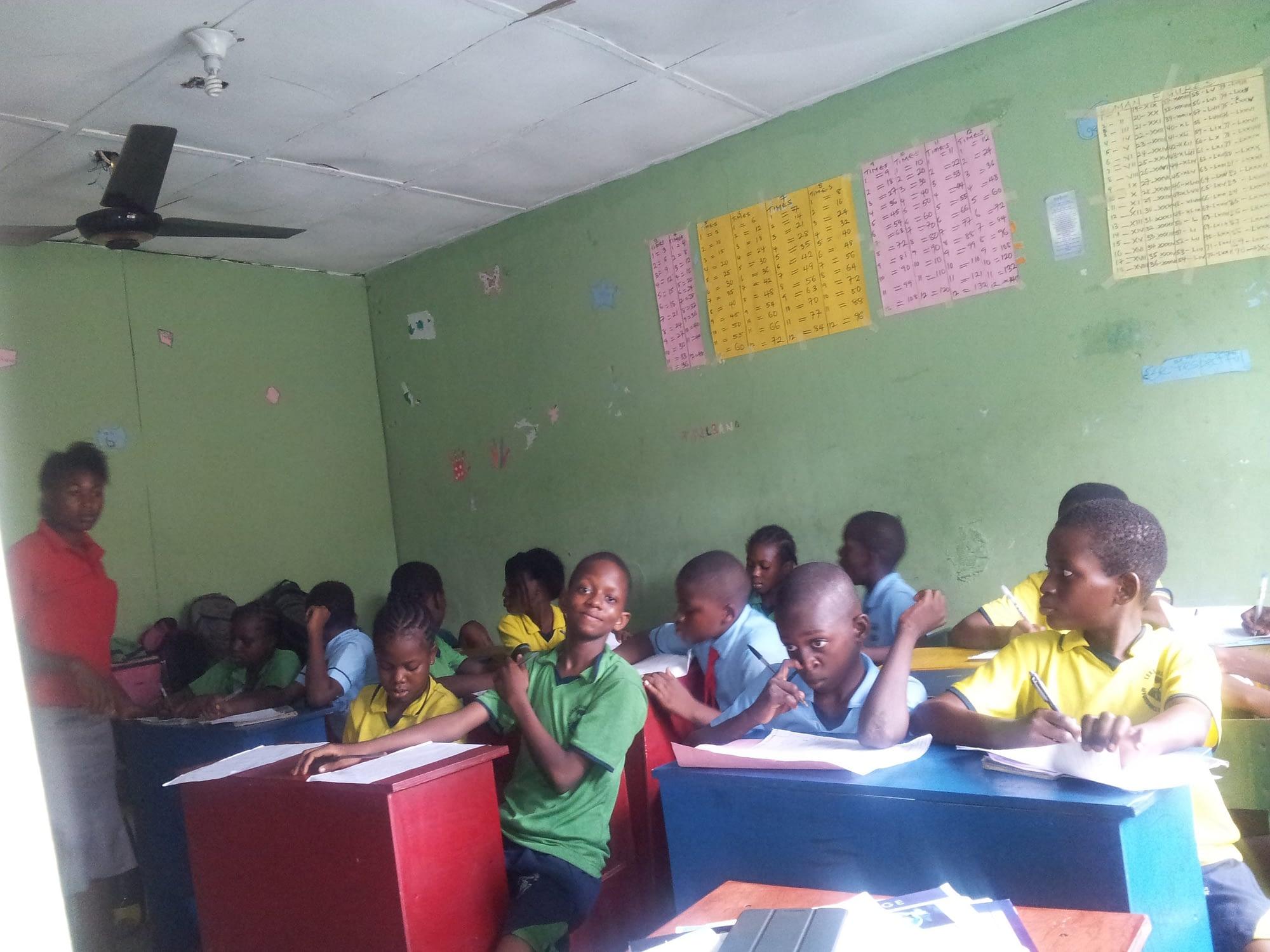 Students studying in the Lekki School classroom.