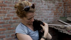 picture of Dorene supporting animal welfare in India