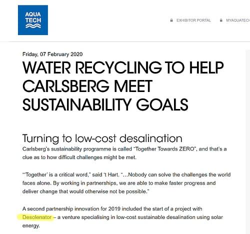 Desolenator partnership with Carlsberg