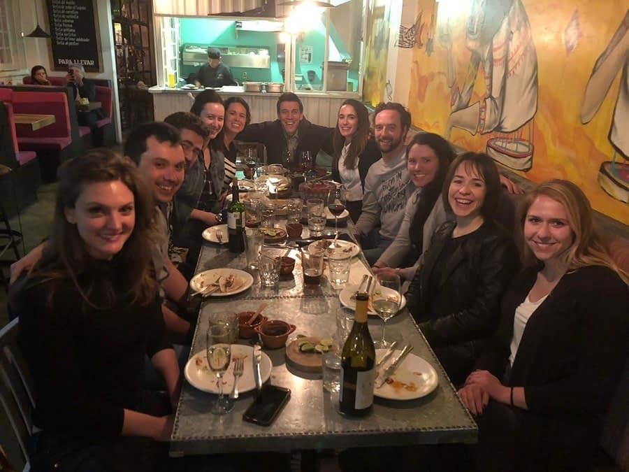 MovingWorlds Institute Global Fellows enjoying a sendoff dinner in Mexico City