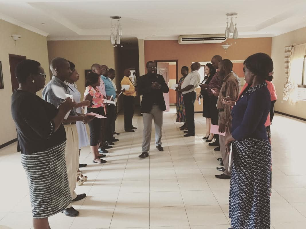 Maurice Nyambe leading an ice-breaker during the 2-day Monitoring and Evaluation training for grant partners.