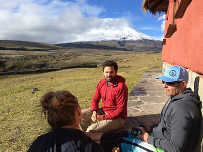 Luis Benitez and participants at Cotopaxi Volcano during the Unconference Orienteering Event