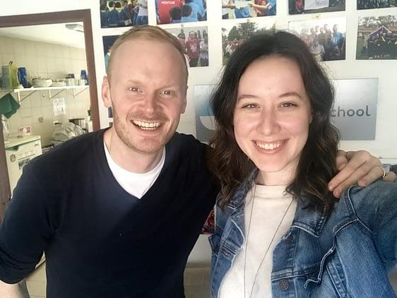 Coschool founder with volunteer Heather