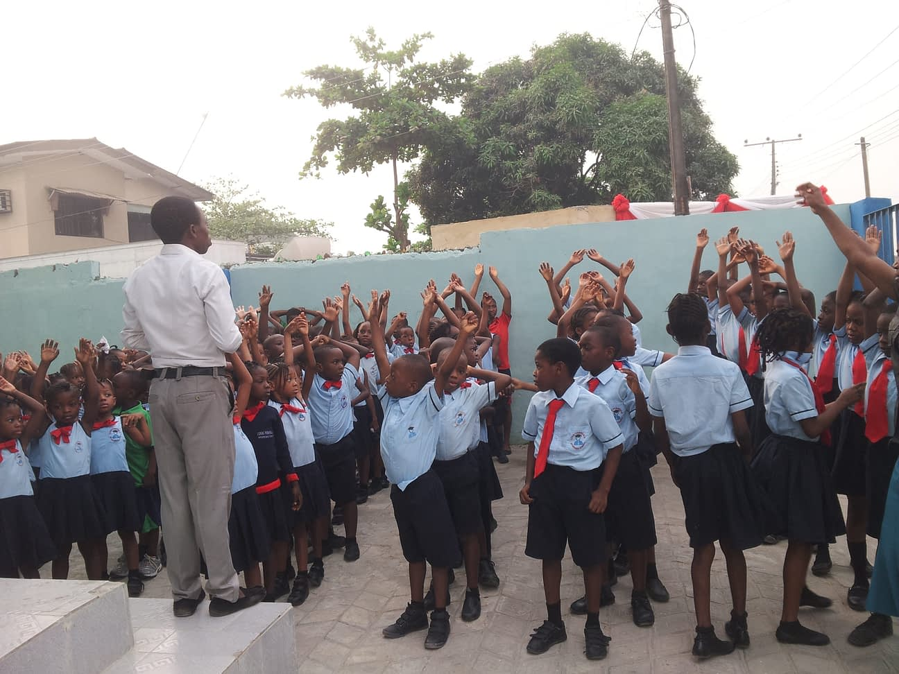 Students at the Lekki School lined up for an assembly.