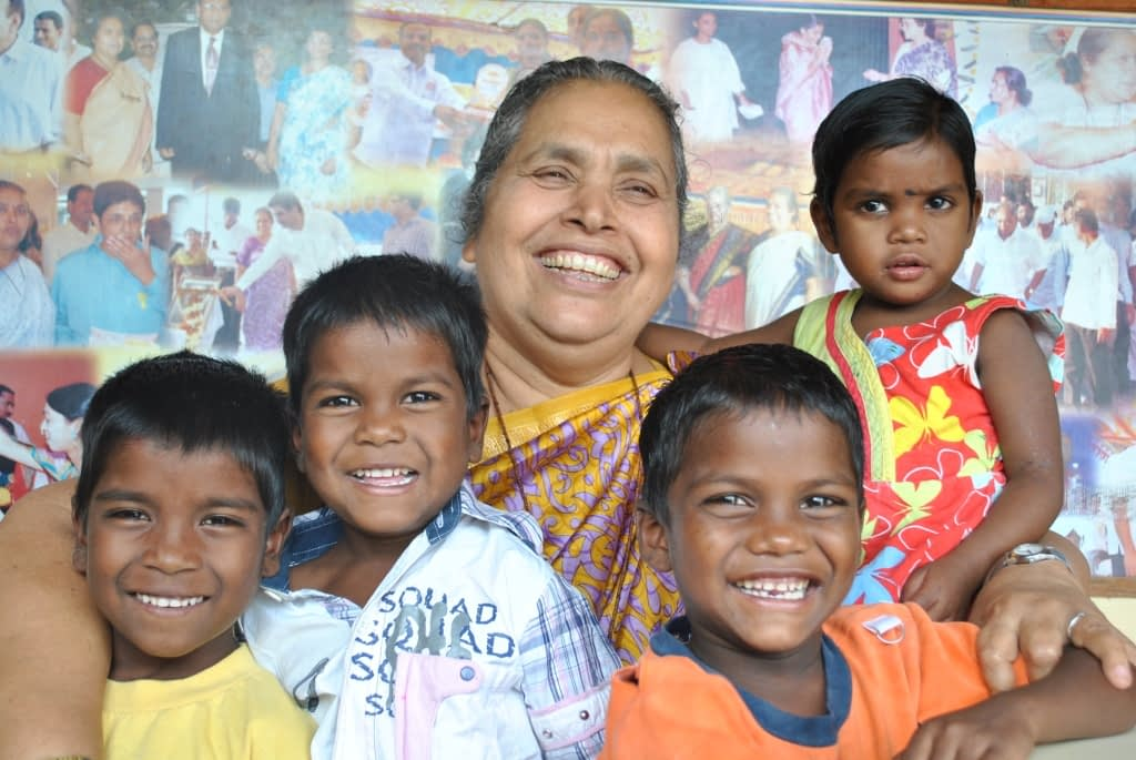 Sister Lucy and some of the children in the ashram.