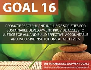 SDG Goal 16 is inclusive societies from United Nations Sustainable Development Goals