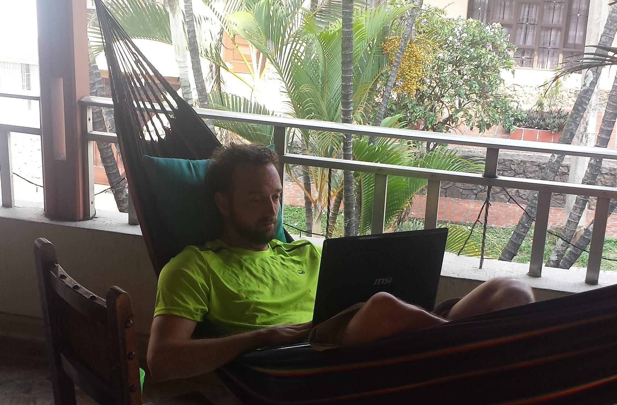 Combining work and pleasure; Ivo enjoying one of his favorite working spots