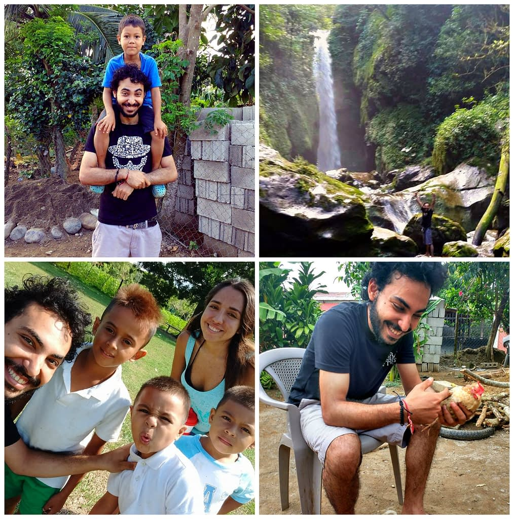 A collage of Rustom (bottom right) with other HCA volunteers and students (bottom and upper left) and Honduras scenic waterfall(upper right)