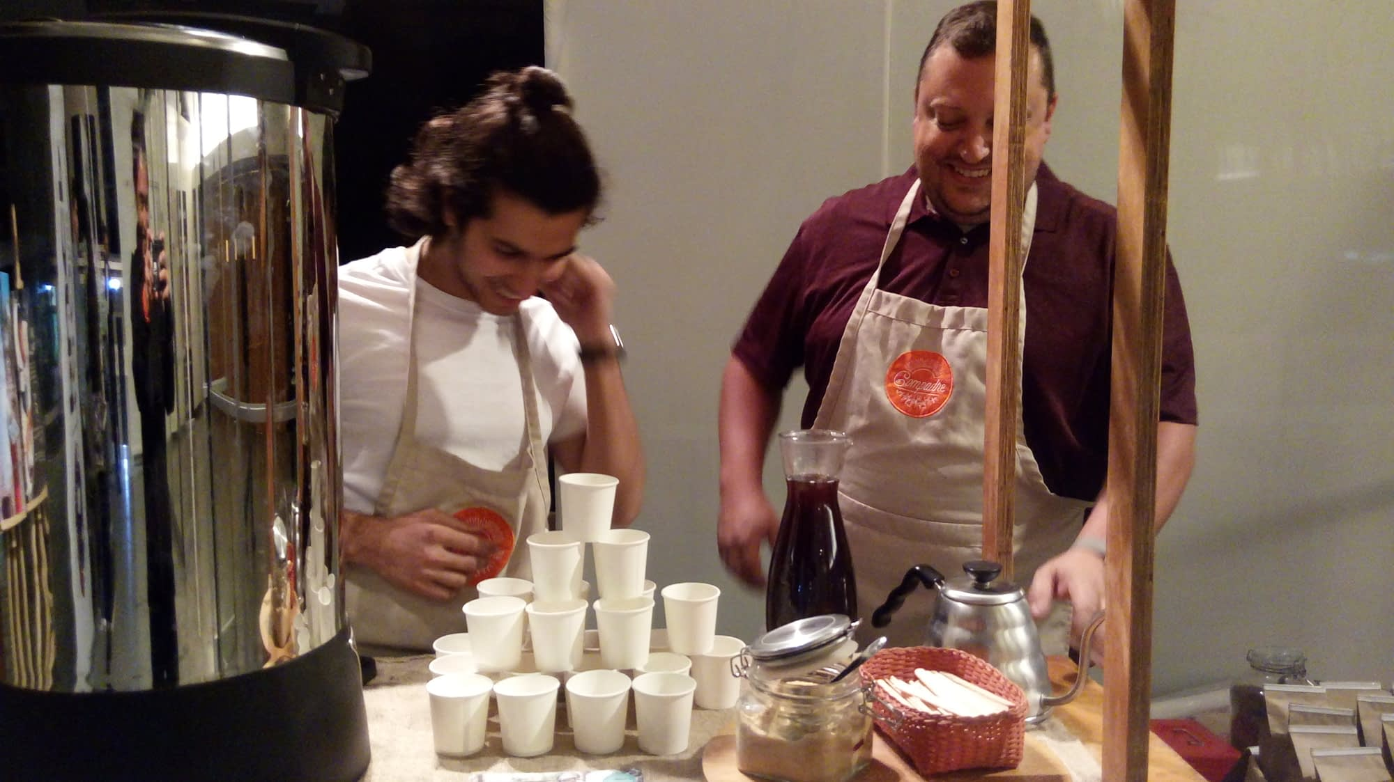 Jeremy and Varun brewing coffee at a Compadre coffee catering.