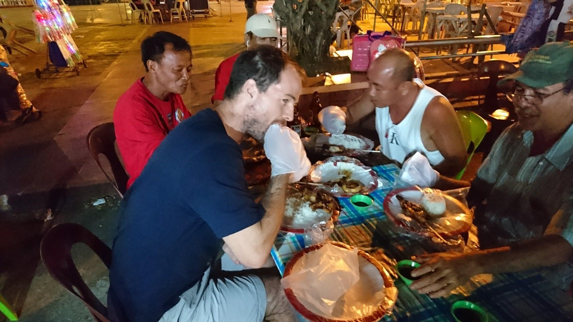 Brian enjoying some of the local Filipino cuisine.
